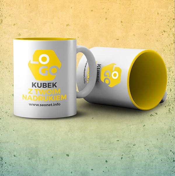 Kubek reklamowy z żółtym wnętrzem